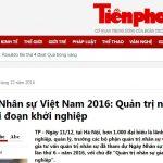 [Tiền Phong] Ngày Nhân sự Việt Nam 2016: Quản trị nhân sự giai đoạn khởi nghiệp
